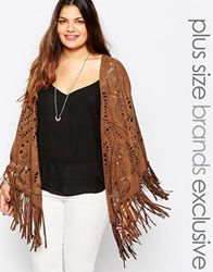 Alice And You Laser Cut Fringed Cape Tan