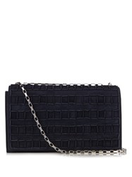 Tomasini Etc050 Suede Shoulder Bag Navy Silver