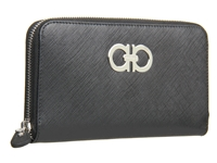 Salvatore Ferragamo Gancini Zip Around Wallet Nero Saffiano