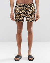 Asos Short Length Swim Shorts With Baroque Print And Gold Detail Black