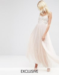 Needle And Thread Embroidered Bust Tulle Maxi Dress Petal Pink
