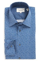 Ted Baker Men's Big And Tall London 'Filmore' Trim Fit Print Dress Shirt Navy