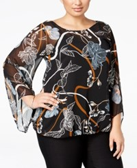 Alfani Plus Size Printed Angel Sleeve Blouse Only At Macy's Fancy Floral Chambray