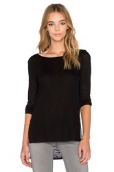 Twenty High Slit Long Sleeve Top Black