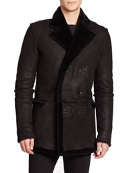 Blk Dnm Shearling Trimmed Double Breasted Leather Coat Black