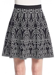 Saks Fifth Avenue Black Printed Knit Skirt Black White