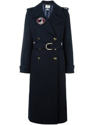 Tommy Hilfiger Double Breasted Belted Coat Blue