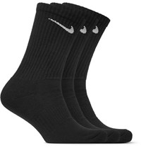 Nike Three Pack Cushioned Cotton Blend Socks Black