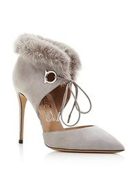 Salvatore Ferragamo Francesca Suede And Mink Fur Lace Up Booties Gris