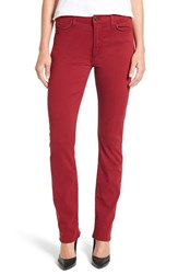 Jen7 Women's Stretch Sateen Slim Straight Leg Pants Cranberry