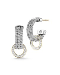 Alor Three Row Micro Cable Pave Diamond Hoop Earrings Gray