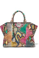 Fendi 3Jours Medium Python And Leather Tote Dark Brown Snake Print