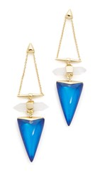 Alexis Bittar Faceted Rock Dangle Earrings Iridescent Cobalt Clear