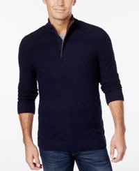 Tasso Elba Men's Quarter Zip Mixed Stitch Sweater Only At Macy's Navy