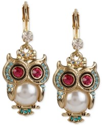 Betsey Johnson Gold Tone Ornate Owl Drop Earrings