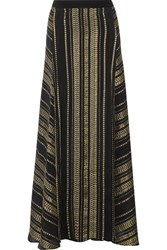 Zeus Dione Naiads Metallic Silk Blend Jacquard Maxi Skirt Black