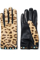 Valentino Embellished Leopard Print Calf Hair And Leather Gloves