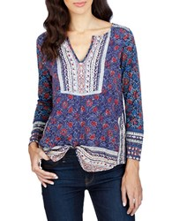 Lucky Brand Printed Cotton Blend Tunic Navy Multi