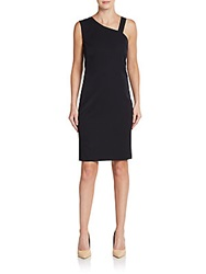 Pauw Wool Asymmetrical Sheath Dress Navy