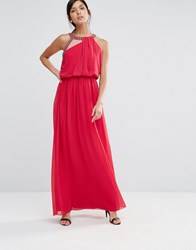 Little Mistress Maxi Dress With Embellished Neckline Cherry Red