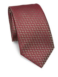 Charvet Geometric Silk Tie Red