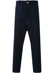Fad Three Pinstripe Cropped Trousers Blue