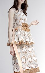 Huishan Zhang Linen Dress With Lace Overlay Brown