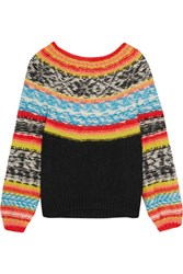 Mes Demoiselles Goyave Fair Isle Knitted Sweater Orange