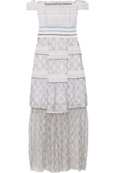 Peter Pilotto Gaze Off The Shoulder Poplin And Lace Maxi Dress White