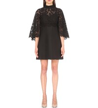Valentino Cape Back Lace And Crepe Dress Blk