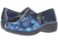 Work Wonders By Dansko Camellia Navy Floral Patent Women's Clog Shoes