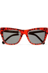 Preen Pemberely D Frame Acetate And Metal Sunglasses Red