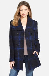 Maralyn Me Plaid A Line Jacket Juniors Online Only Blue