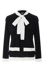 Paule Ka Layered Neck Tie Sweater Black