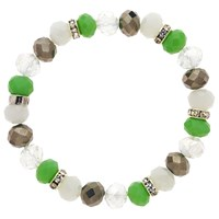 Monet Bead And Crystal Rondel Stretch Bracelet Green White