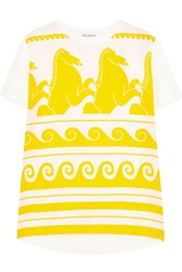 Vionnet Printed Silk And Stretch Jersey T Shirt Yellow