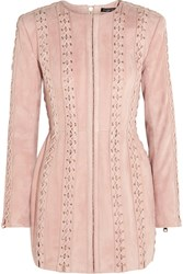 Balmain Lace Up Suede Mini Dress Pastel Pink