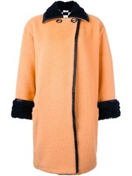 Versace Vintage Textured Coat Yellow And Orange