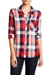 Como Vintage Long Sleeve Plaid Woven Shirt Petite Red