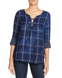 Side Stitch Windowpane Lace Up Shirt Bloomingdale's Exclusive Dark Cloud