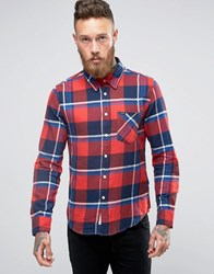Lee Slim Check Flannel Shirt Red Chilli Red