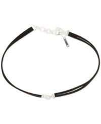 Nine West Silver Tone Double Cord Leather Choker Necklace