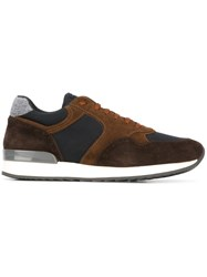 Eleventy Panelled Lace Up Sneakers Brown