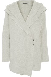 Vince Sophie Wool Blend Hooded Cardigan Stone
