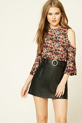 Forever 21 Floral Open Shoulder Top Black Red