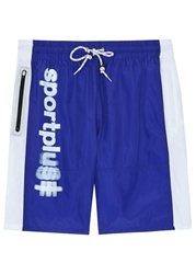Vfiles Sport Plus Blue And White Shell Shorts