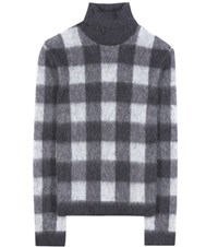 Balenciaga Check Wool And Mohair Blend Turtleneck Sweater Grey