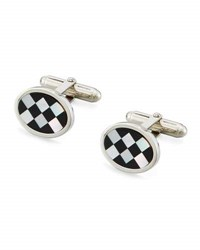 David Donahue Onyx And Mother Of Pearl Checkerboard Cuff Links Silver