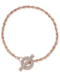Inc International Concepts Rose Gold Tone Crystal Toggle Chain Necklace Only At Macy's