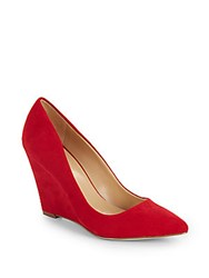 Saks Fifth Avenue Bianca Sueded Wedge Pumps Red